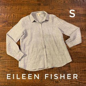 Eileen fisher long sleeved linen button up blouse